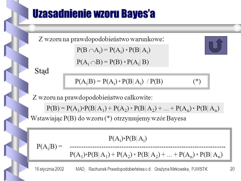 16 stycznia 2002MAD, Rachunek Prawdopodobieństwa c.d. Grażyna Mirkowska, PJWSTK19 Przykład Rozważmy program : x:= 0; p := false; while p = false do x.
