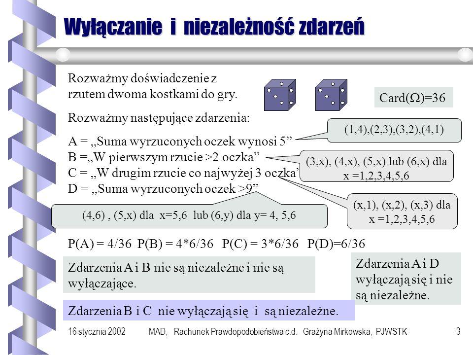 16 stycznia 2002MAD, Rachunek Prawdopodobieństwa c.d. Grażyna Mirkowska, PJWSTK2 Szkic wykładu b Porównanie pojęć wyłączania się zdarzeń i niezależnoś