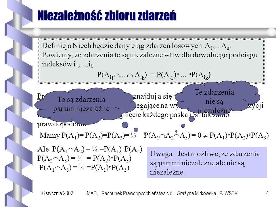 16 stycznia 2002MAD, Rachunek Prawdopodobieństwa c.d. Grażyna Mirkowska, PJWSTK3 Wyłączanie i niezależność zdarzeń Rozważmy doświadczenie z rzutem dwo