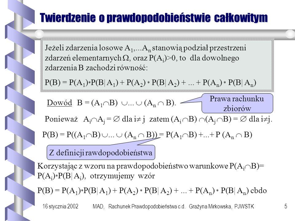 16 stycznia 2002MAD, Rachunek Prawdopodobieństwa c.d. Grażyna Mirkowska, PJWSTK4 Niezależność zbioru zdarzeń Definicja Niech będzie dany ciąg zdarzeń