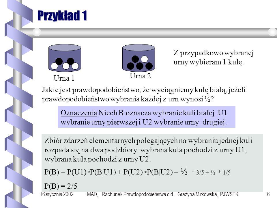 16 stycznia 2002MAD, Rachunek Prawdopodobieństwa c.d. Grażyna Mirkowska, PJWSTK5 Twierdzenie o prawdopodobieństwie całkowitym Jeżeli zdarzenia losowe