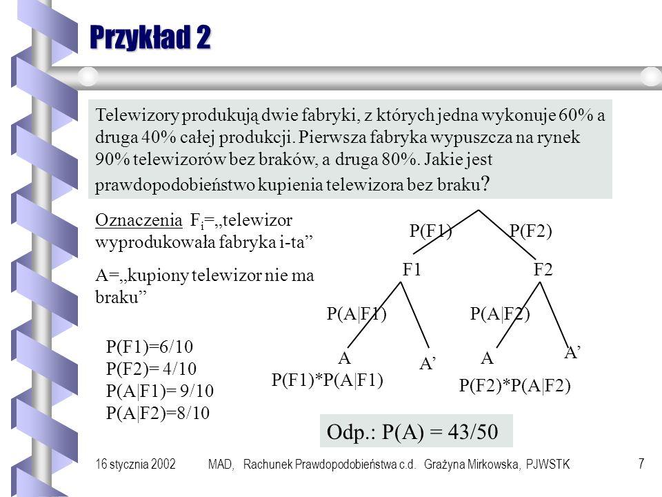 16 stycznia 2002MAD, Rachunek Prawdopodobieństwa c.d. Grażyna Mirkowska, PJWSTK6 Przykład 1 Urna 1 Urna 2 Z przypadkowo wybranej urny wybieram 1 kulę.