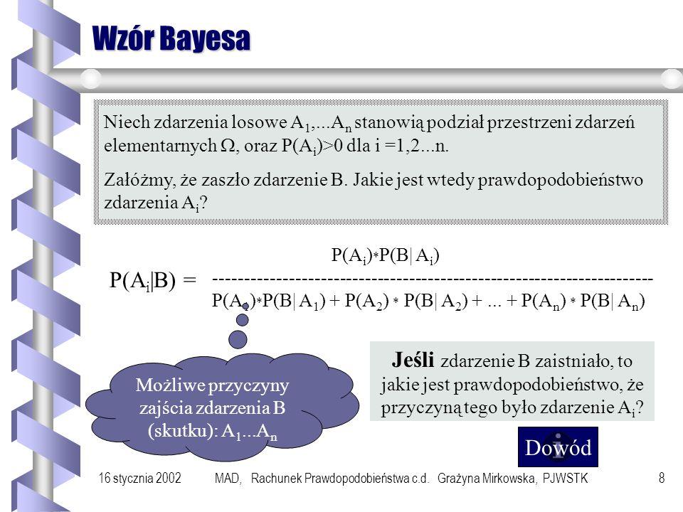 16 stycznia 2002MAD, Rachunek Prawdopodobieństwa c.d. Grażyna Mirkowska, PJWSTK7 Przykład 2 Telewizory produkują dwie fabryki, z których jedna wykonuj