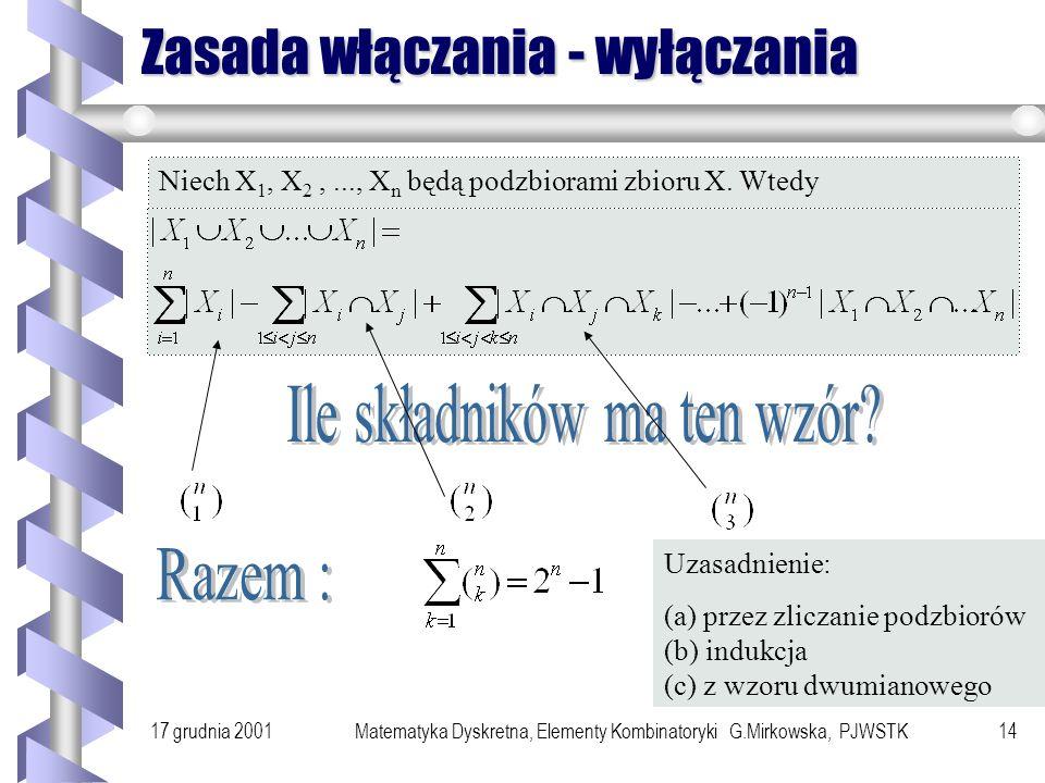 17 grudnia 2001Matematyka Dyskretna, Elementy Kombinatoryki G.Mirkowska, PJWSTK13 Liczność sumy t.m. Jeśli card(X)= n i card(Y)= m to ile elementów ma