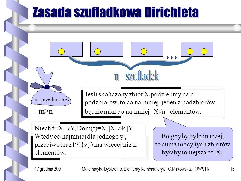 17 grudnia 2001Matematyka Dyskretna, Elementy Kombinatoryki G.Mirkowska, PJWSTK15 Zastosowanie Jeżeli |X|=n i |Y|=m, to liczba wszystkich funkcji całk