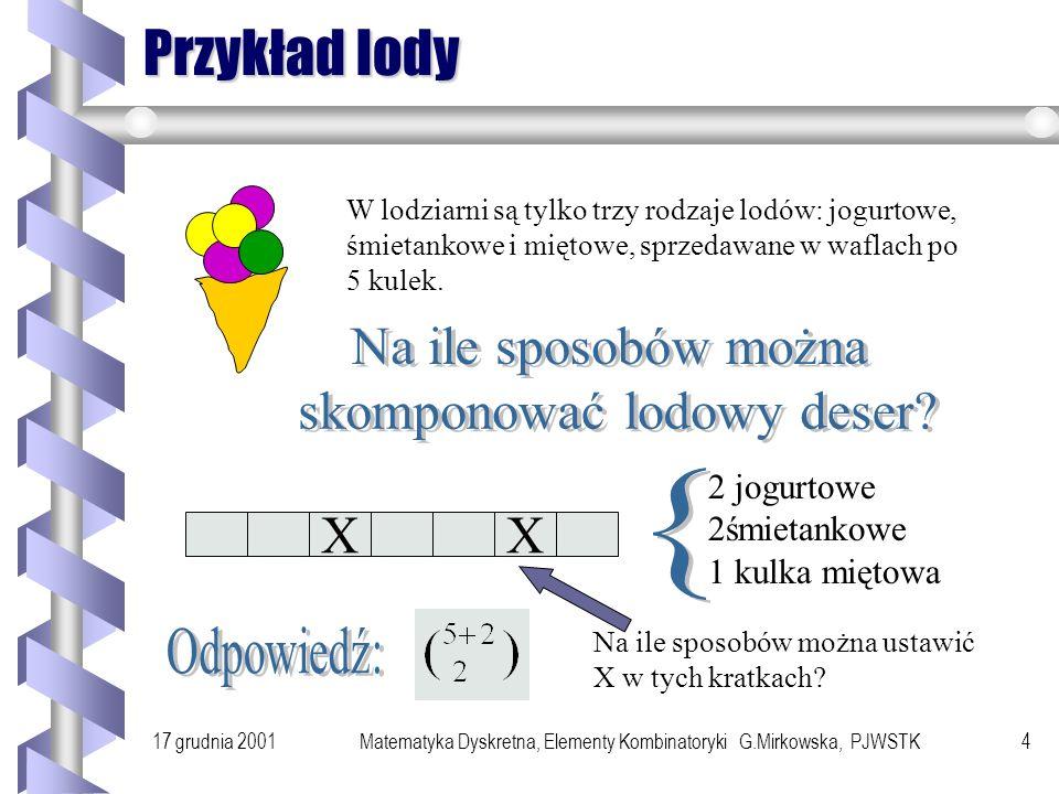 17 grudnia 2001Matematyka Dyskretna, Elementy Kombinatoryki G.Mirkowska, PJWSTK3 Przykład Ful w pokerze to układ 5 kart, w których występują tylko kar