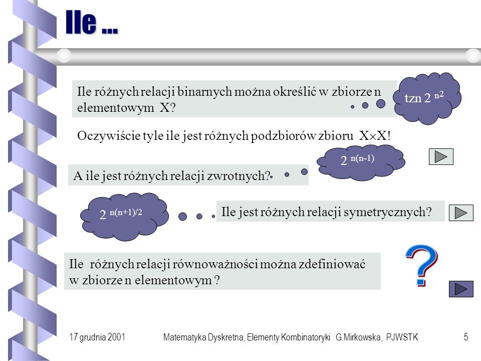 17 grudnia 2001Matematyka Dyskretna, Elementy Kombinatoryki G.Mirkowska, PJWSTK4 Przykład lody W lodziarni są tylko trzy rodzaje lodów: jogurtowe, śmi