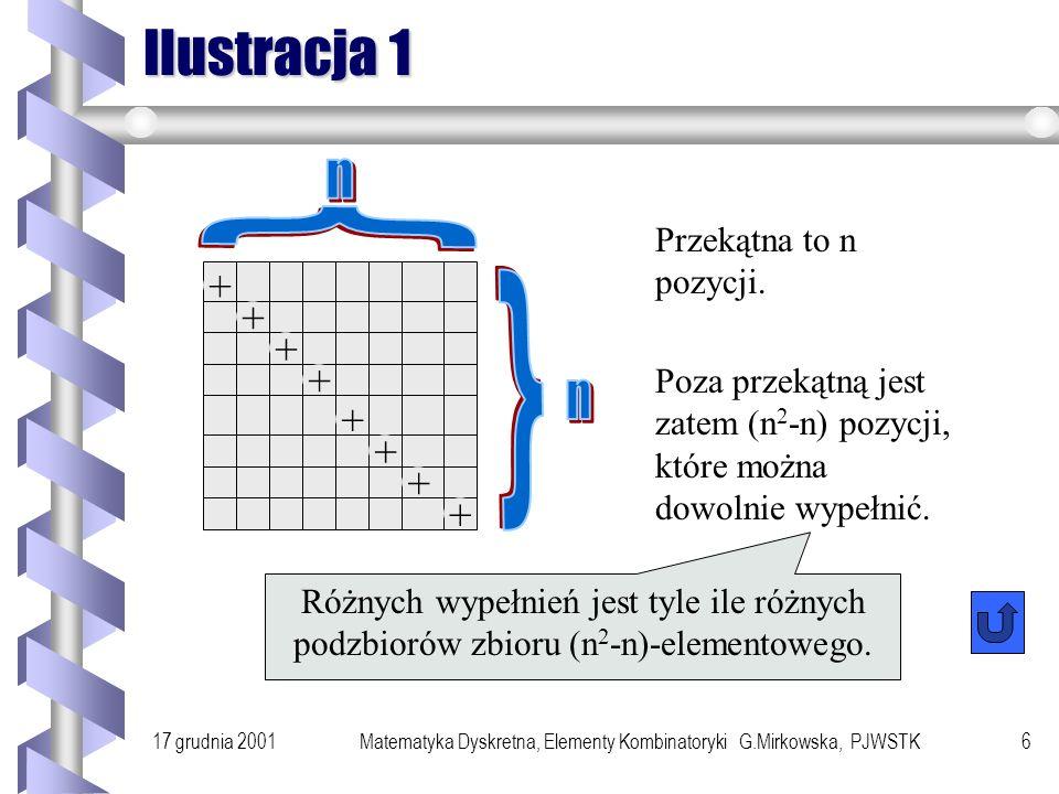 17 grudnia 2001Matematyka Dyskretna, Elementy Kombinatoryki G.Mirkowska, PJWSTK5 Ile... Ile różnych relacji binarnych można określić w zbiorze n eleme