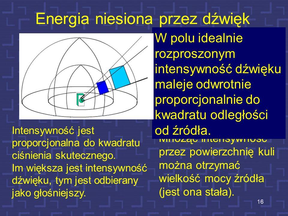 16 Energia niesiona przez dźwięk Amplituda jest bezpośrednio związana z intensywnością, która określa ilość energii akustycznej przepływającej przez p