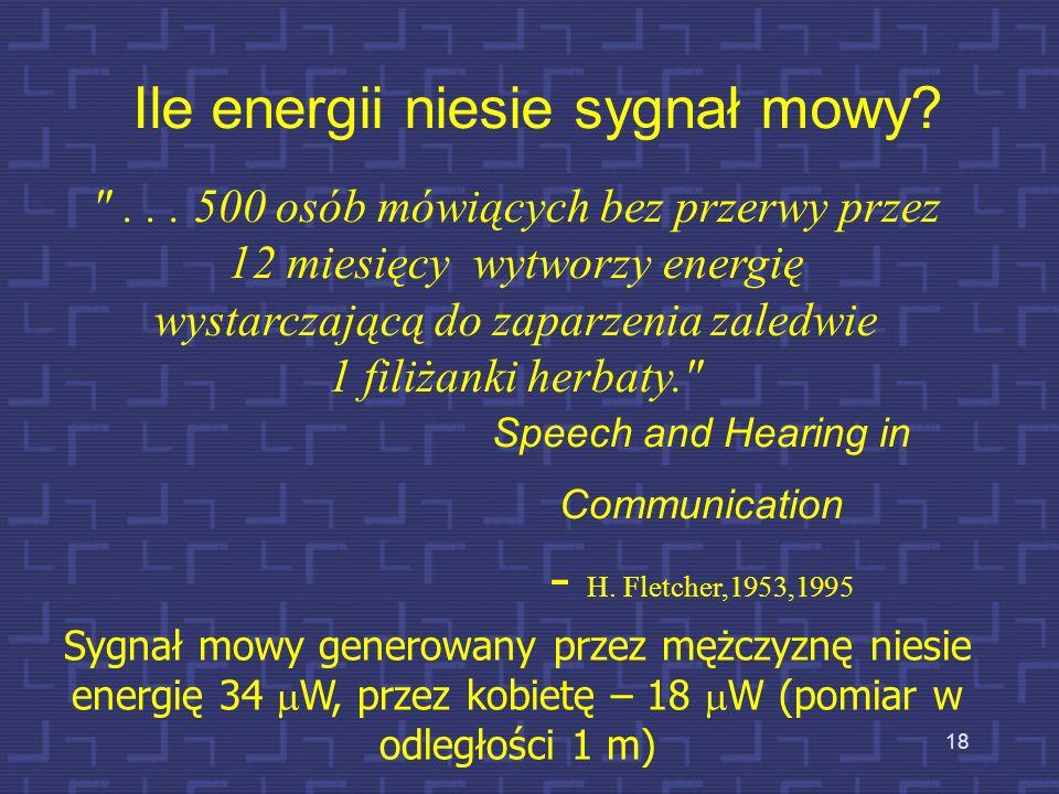 18 Ile energii niesie sygnał mowy?