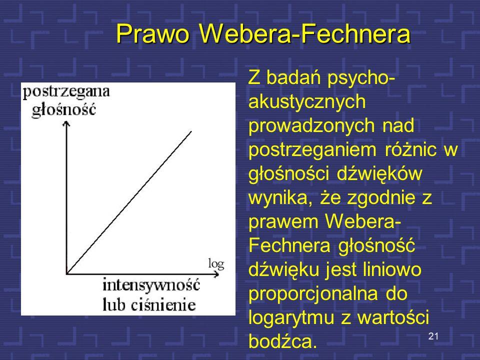 21 Prawo Webera-Fechnera Z badań psycho- akustycznych prowadzonych nad postrzeganiem różnic w głośności dźwięków wynika, że zgodnie z prawem Webera- F