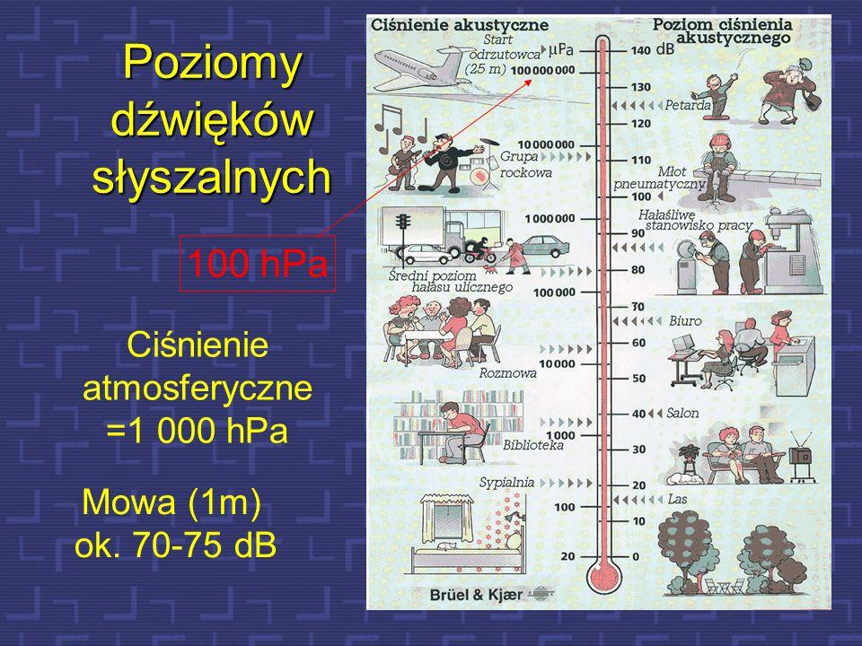 22 100 hPa Ciśnienie atmosferyczne =1 000 hPa Mowa (1m) ok. 70-75 dB Poziomy dźwięków słyszalnych
