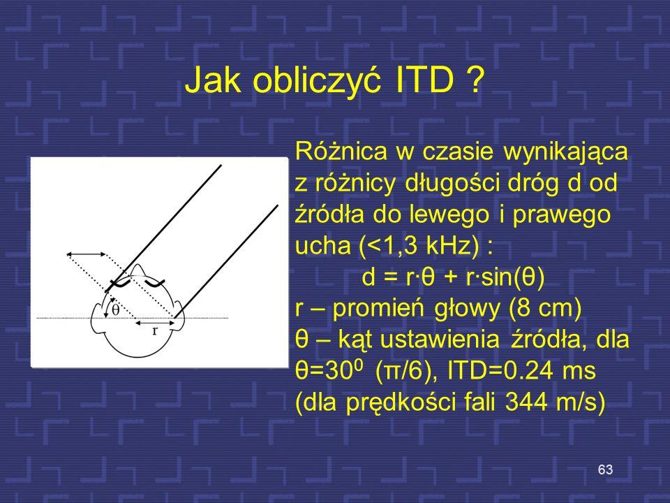 Jak obliczyć ITD ? 63 Różnica w czasie wynikająca z różnicy długości dróg d od źródła do lewego i prawego ucha (<1,3 kHz) : d = rθ + rsin(θ) r – promi
