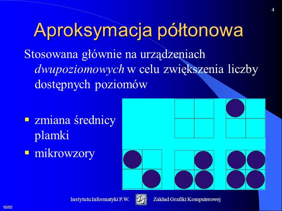 10/05 5 Instytutu Informatyki P.W.Zakład Grafiki Komputerowej Percepcja barwy Odcień barwy - potocznie określane jako kolor np.