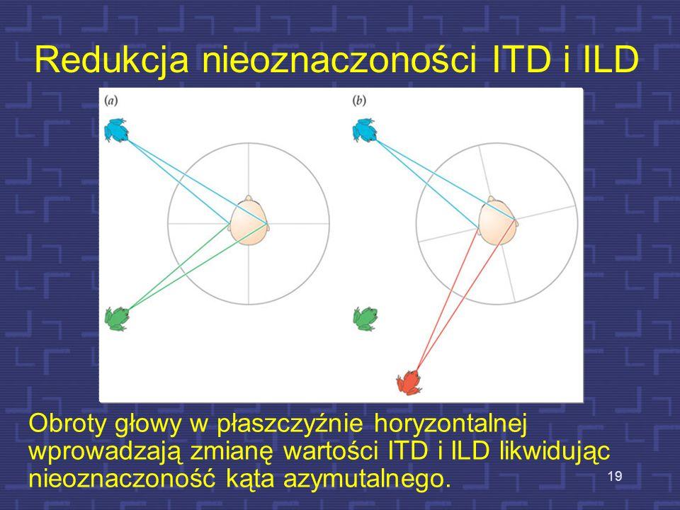 Redukcja nieoznaczoności ITD i ILD Obroty głowy w płaszczyźnie horyzontalnej wprowadzają zmianę wartości ITD i ILD likwidując nieoznaczoność kąta azym