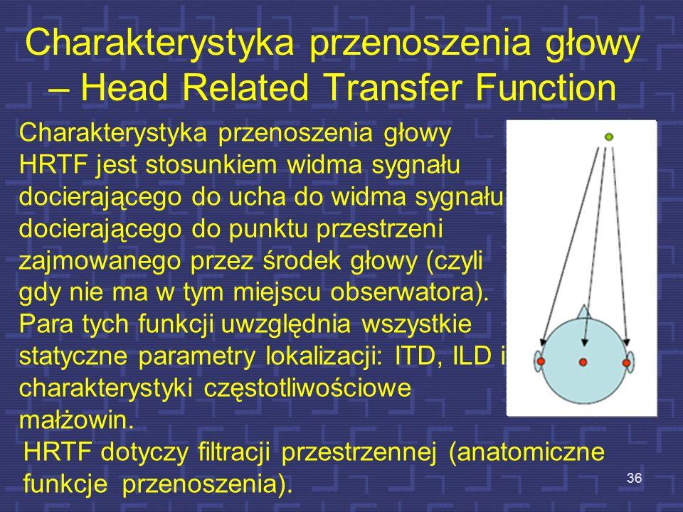 Charakterystyka przenoszenia głowy – Head Related Transfer Function 36 Charakterystyka przenoszenia głowy HRTF jest stosunkiem widma sygnału docierają