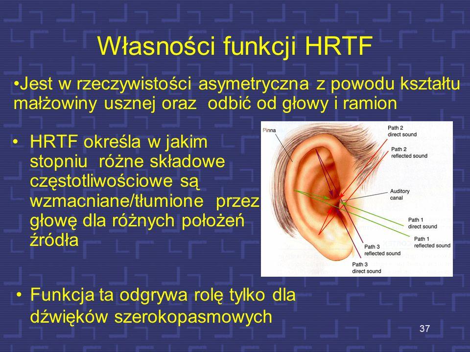 Własności funkcji HRTF HRTF określa w jakim stopniu różne składowe częstotliwościowe są wzmacniane/tłumione przez głowę dla różnych położeń źródła 37