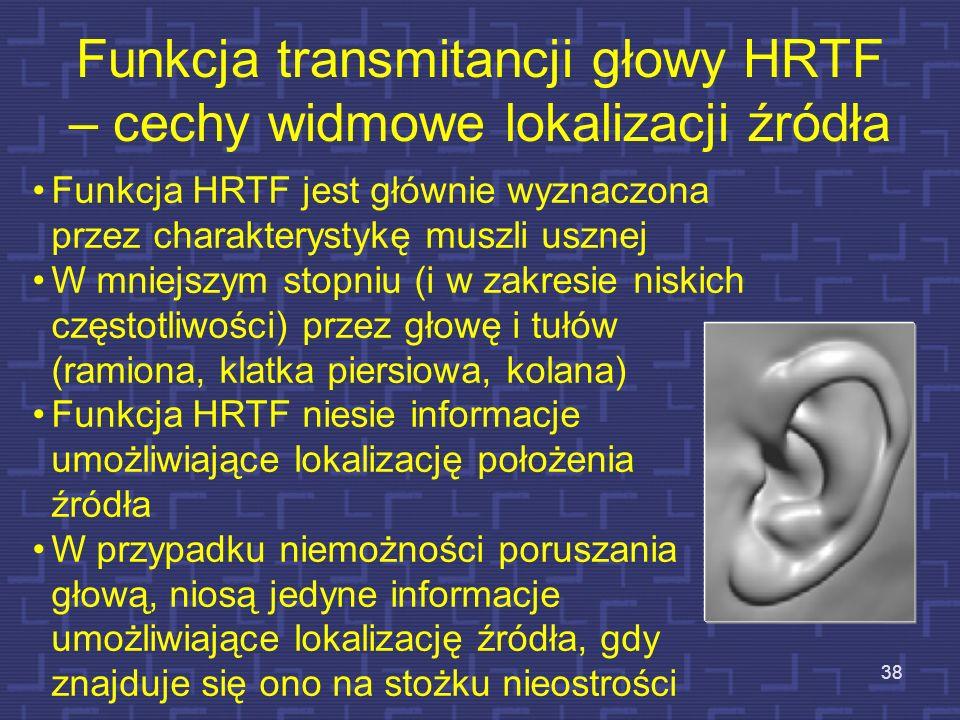 Funkcja transmitancji głowy HRTF – cechy widmowe lokalizacji źródła 38 Funkcja HRTF jest głównie wyznaczona przez charakterystykę muszli usznej W mnie