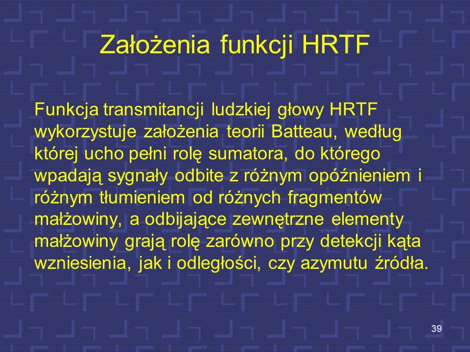 Założenia funkcji HRTF Funkcja transmitancji ludzkiej głowy HRTF wykorzystuje założenia teorii Batteau, według której ucho pełni rolę sumatora, do któ