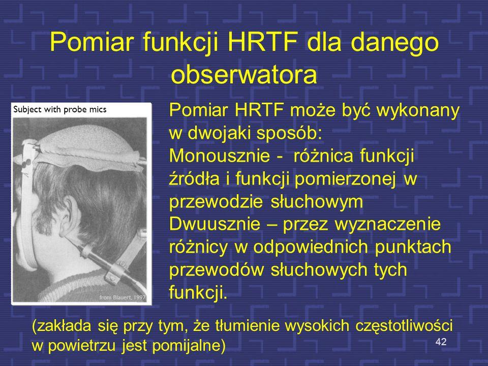 Pomiar funkcji HRTF dla danego obserwatora 42 Pomiar HRTF może być wykonany w dwojaki sposób: Monousznie - różnica funkcji źródła i funkcji pomierzone