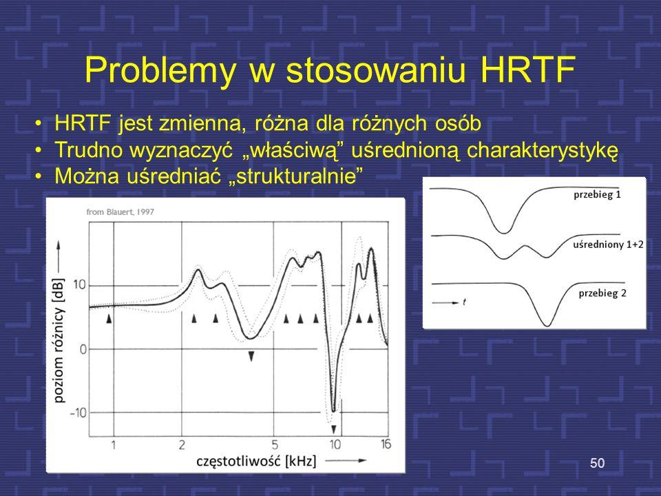 Problemy w stosowaniu HRTF 50 HRTF jest zmienna, różna dla różnych osób Trudno wyznaczyć właściwą uśrednioną charakterystykę Można uśredniać struktura