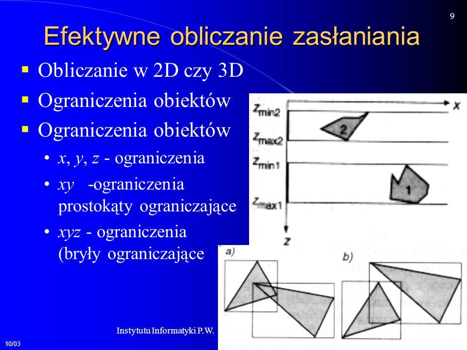 10/03 9 Instytutu Informatyki P.W.Zakład Grafiki Komputerowej Efektywne obliczanie zasłaniania Obliczanie w 2D czy 3D Ograniczenia obiektów x, y, z - ograniczenia xy -ograniczenia prostokąty ograniczające xyz - ograniczenia (bryły ograniczające