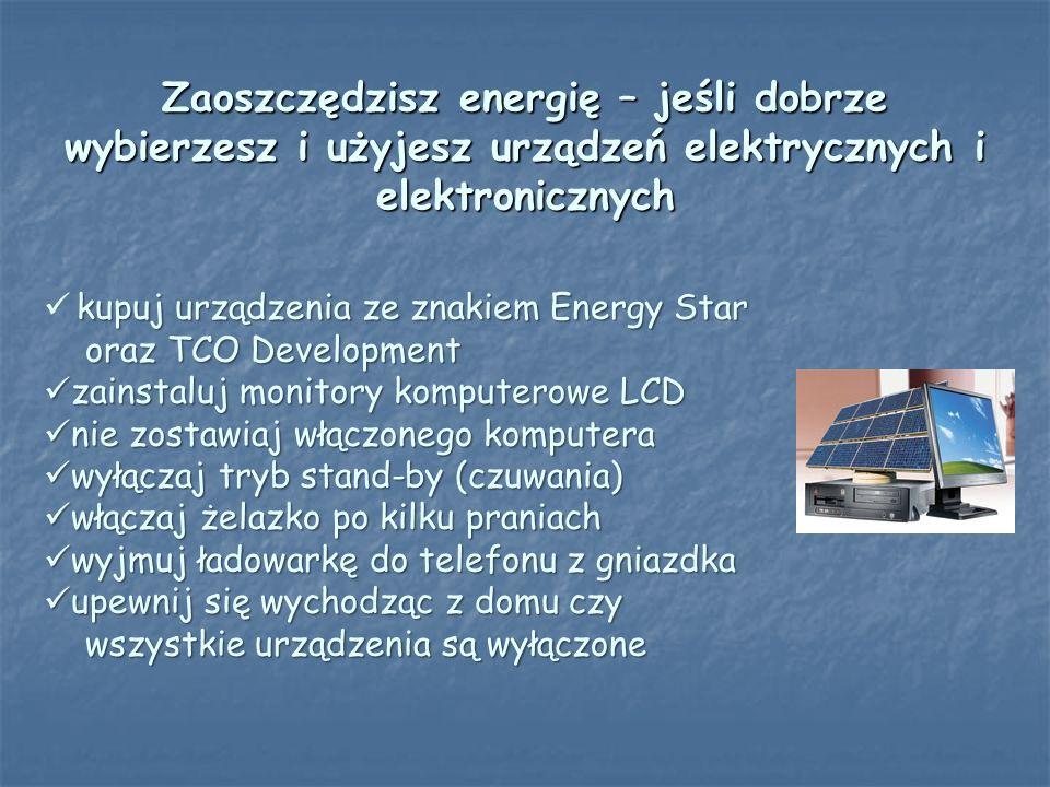 Zaoszczędzisz energię – jeśli dobrze wybierzesz i użyjesz urządzeń elektrycznych i elektronicznych kupuj urządzenia ze znakiem Energy Star oraz TCO De