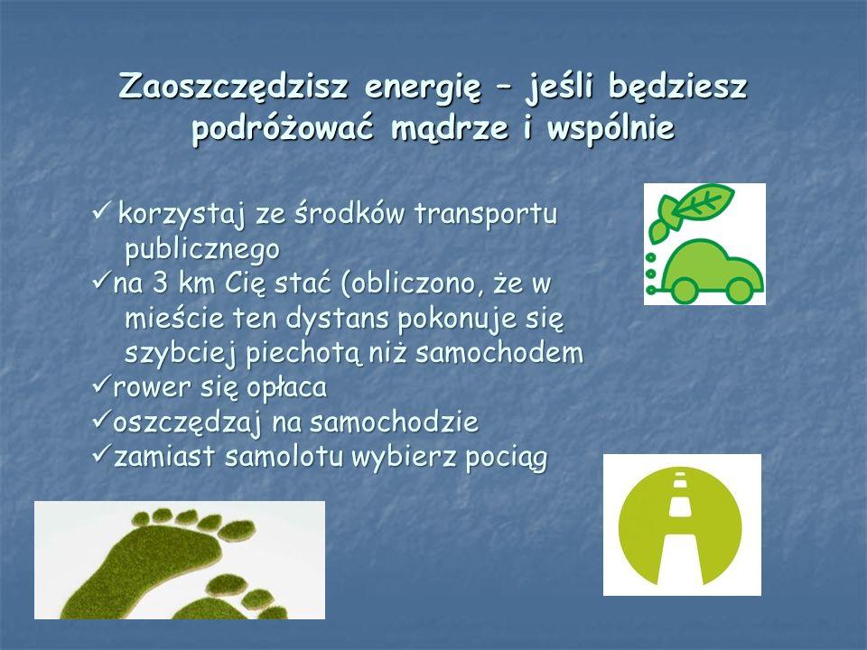 Zaoszczędzisz energię – jeśli będziesz podróżować mądrze i wspólnie korzystaj ze środków transportu publicznego publicznego na 3 km Cię stać (obliczon