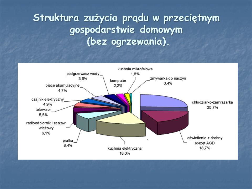 Struktura zużycia prądu w przeciętnym gospodarstwie domowym (bez ogrzewania).