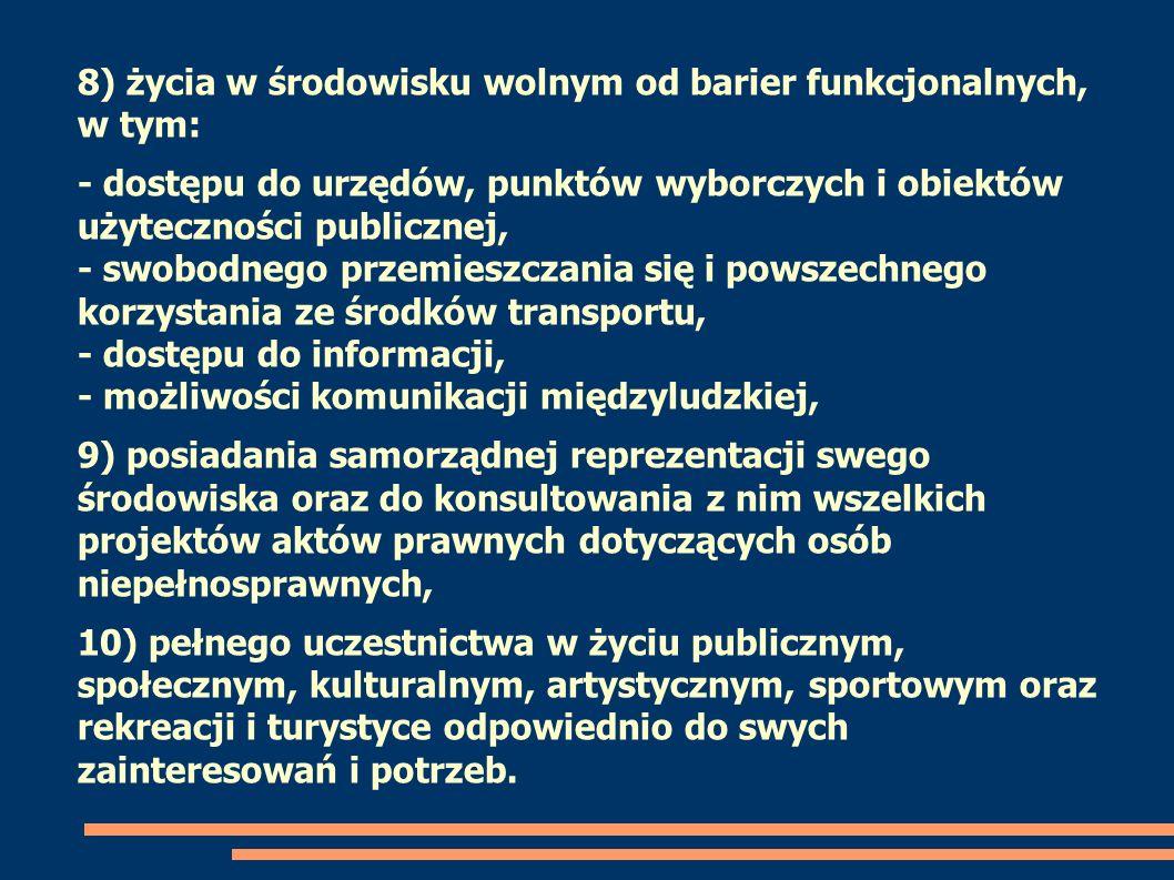 8) życia w środowisku wolnym od barier funkcjonalnych, w tym: - dostępu do urzędów, punktów wyborczych i obiektów użyteczności publicznej, - swobodneg