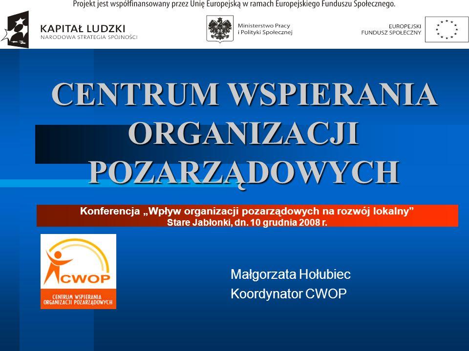 CENTRUM WSPIERANIA ORGANIZACJI POZARZĄDOWYCH Małgorzata Hołubiec Koordynator CWOP Konferencja Wpływ organizacji pozarządowych na rozwój lokalny Stare
