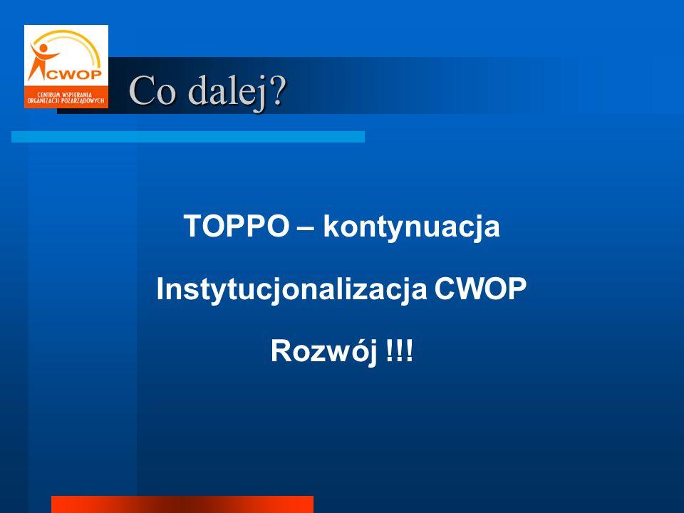 Co dalej? TOPPO – kontynuacja Instytucjonalizacja CWOP Rozwój !!!