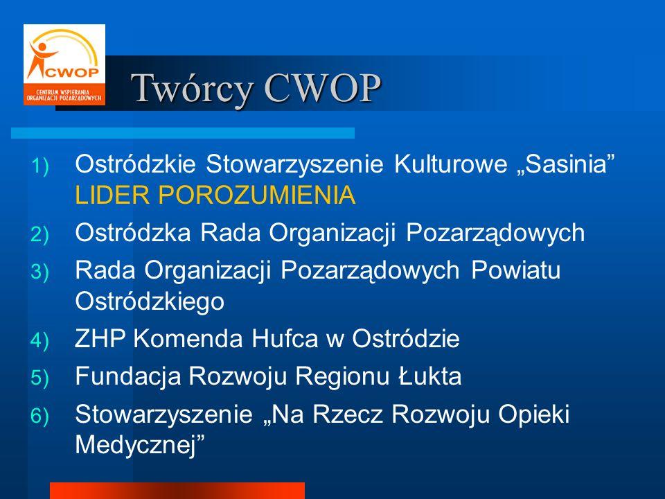 Twórcy CWOP 1) Ostródzkie Stowarzyszenie Kulturowe Sasinia LIDER POROZUMIENIA 2) Ostródzka Rada Organizacji Pozarządowych 3) Rada Organizacji Pozarząd