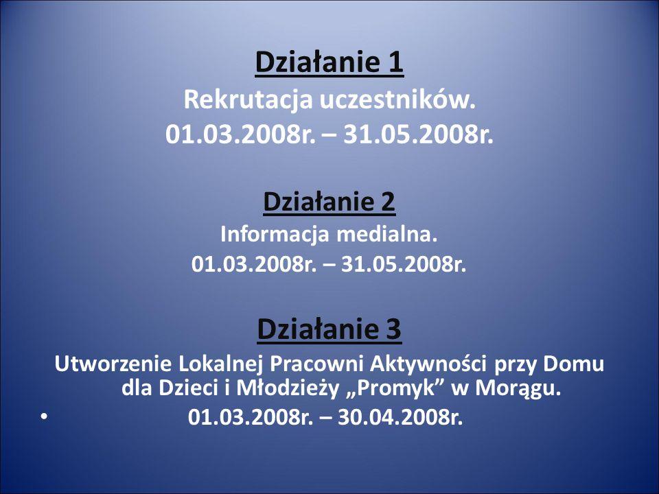 Działanie 1 Rekrutacja uczestników.01.03.2008r. – 31.05.2008r.