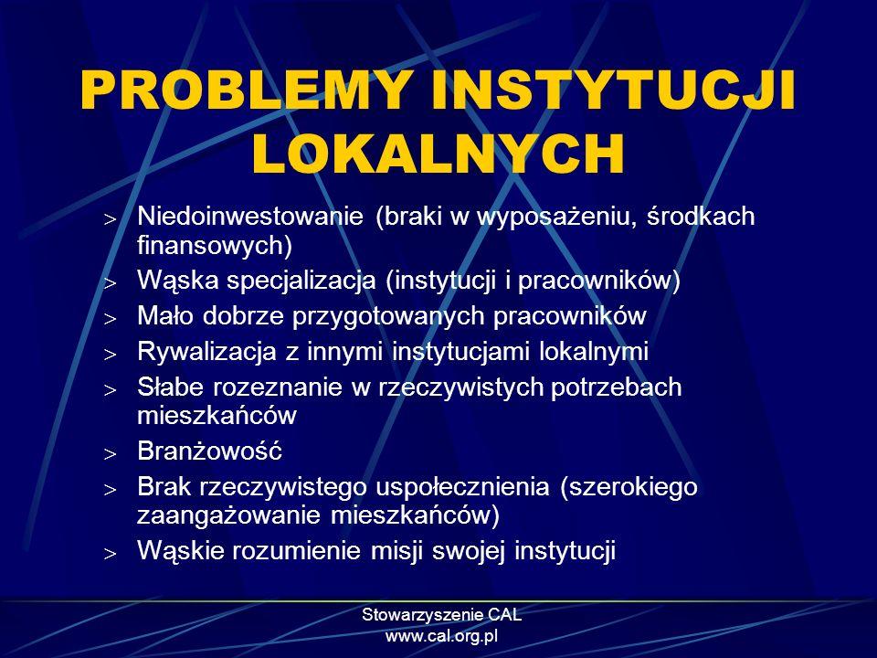 Stowarzyszenie CAL www.cal.org.pl PROBLEMY INSTYTUCJI LOKALNYCH Niedoinwestowanie (braki w wyposażeniu, środkach finansowych) Wąska specjalizacja (ins