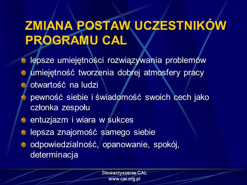 Stowarzyszenie CAL www.cal.org.pl ZMIANA POSTAW UCZESTNIKÓW PROGRAMU CAL lepsze umiejętności rozwiązywania problemów umiejętność tworzenia dobrej atmo
