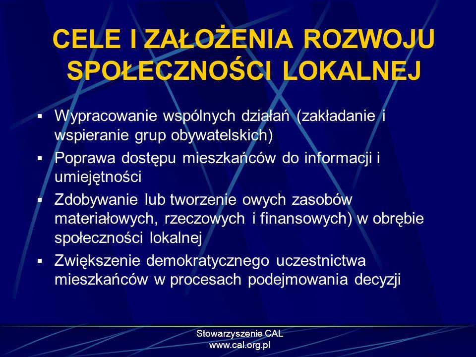 Stowarzyszenie CAL www.cal.org.pl CELE I ZAŁOŻENIA ROZWOJU SPOŁECZNOŚCI LOKALNEJ Wypracowanie wspólnych działań (zakładanie i wspieranie grup obywatel