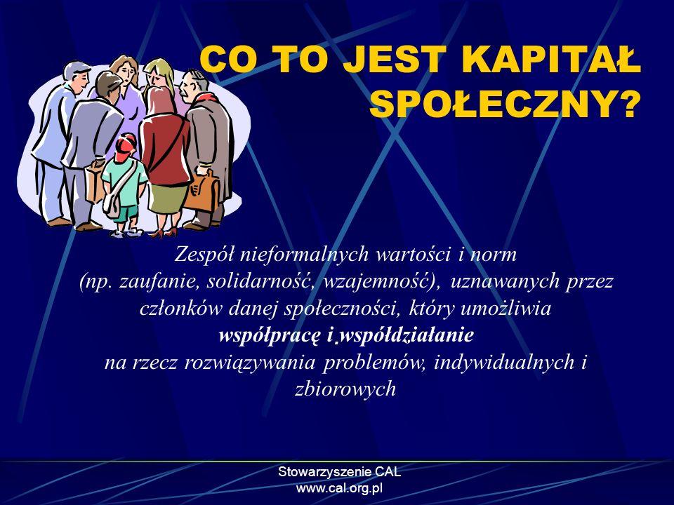 Stowarzyszenie CAL www.cal.org.pl CO TO JEST KAPITAŁ SPOŁECZNY?. Zespół nieformalnych wartości i norm (np. zaufanie, solidarność, wzajemność), uznawan
