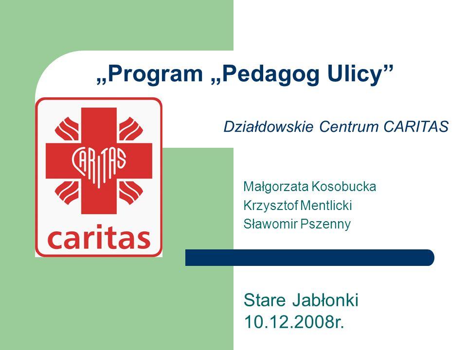 Program Pedagog Ulicy Prowadzony jest w Działdowskim Centrum CARITAS od kwietnia 2007 roku wsparciem zostało objętych 20 osób (dzieci i młodzieży) z terenu miasta Działdowo