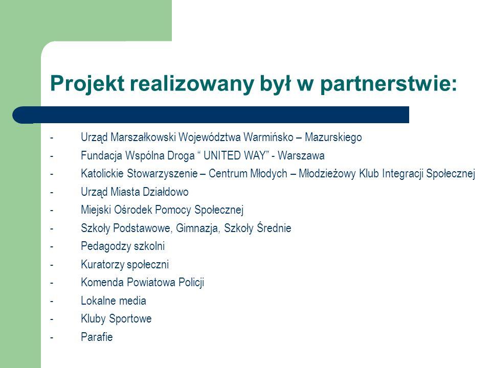 Projekt realizowany był w partnerstwie: -Urząd Marszałkowski Województwa Warmińsko – Mazurskiego -Fundacja Wspólna Droga UNITED WAY - Warszawa -Katoli
