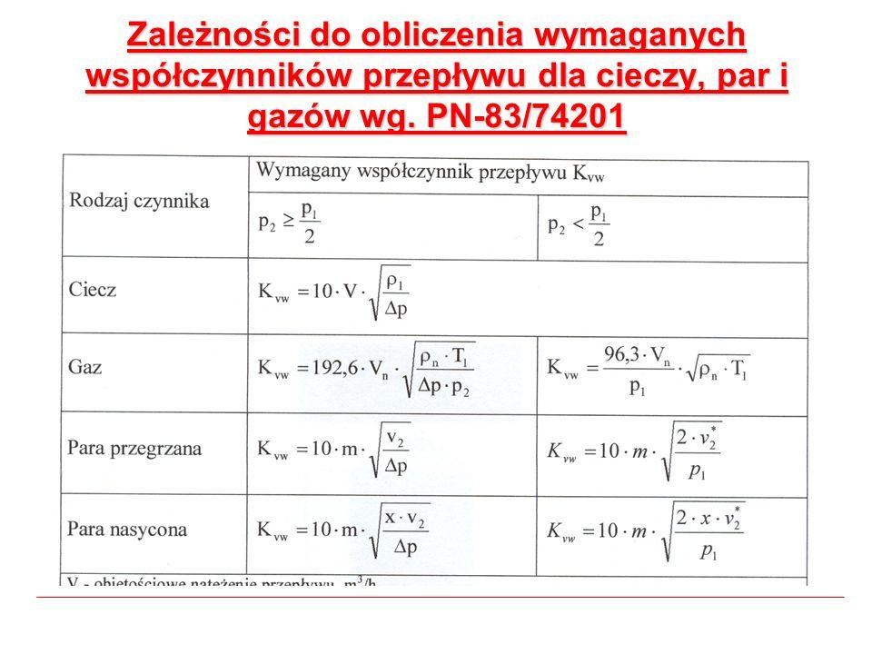 Zależności do obliczenia wymaganych współczynników przepływu dla cieczy, par i gazów wg. PN-83/74201