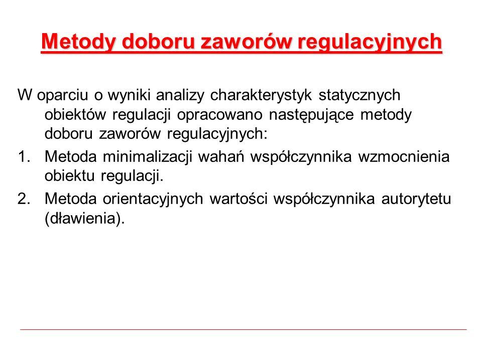 Metody doboru zaworów regulacyjnych W oparciu o wyniki analizy charakterystyk statycznych obiektów regulacji opracowano następujące metody doboru zawo