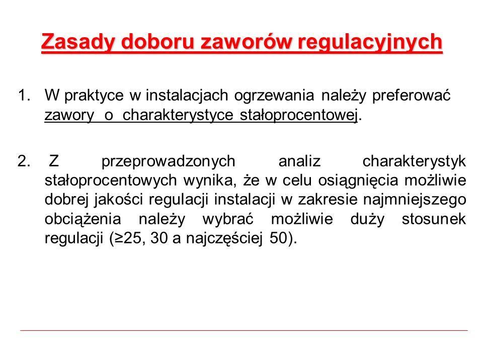 Zasady doboru zaworów regulacyjnych 1.W praktyce w instalacjach ogrzewania należy preferować zawory o charakterystyce stałoprocentowej. 2. Z przeprowa