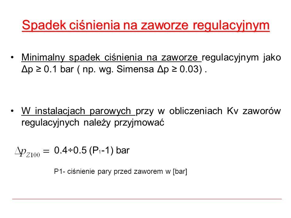Spadek ciśnienia na zaworze regulacyjnym Minimalny spadek ciśnienia na zaworze regulacyjnym jako Δp 0.1 bar ( np. wg. Simensa Δp 0.03). W instalacjach