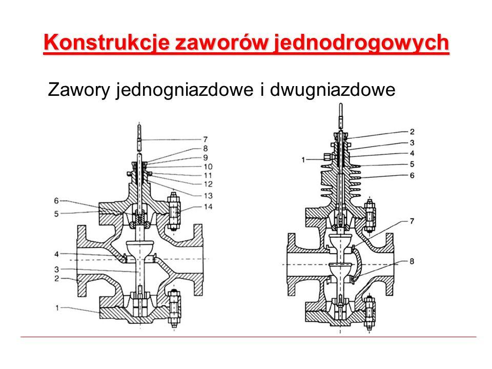 Konstrukcje zaworów jednodrogowych Zawory jednogniazdowe i dwugniazdowe