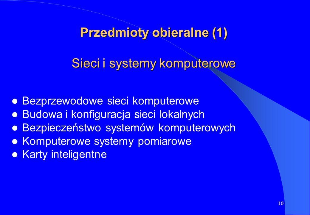 10 Przedmioty obieralne (1) Sieci i systemy komputerowe Bezprzewodowe sieci komputerowe Budowa i konfiguracja sieci lokalnych Bezpieczeństwo systemów