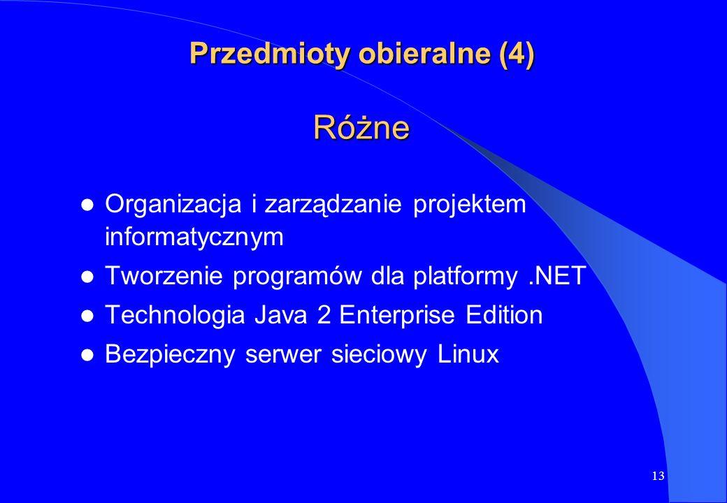 13 Przedmioty obieralne (4) Różne Organizacja i zarządzanie projektem informatycznym Tworzenie programów dla platformy.NET Technologia Java 2 Enterpri