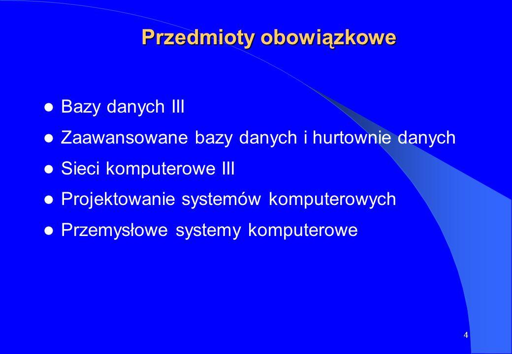 4 Przedmioty obowiązkowe Bazy danych III Zaawansowane bazy danych i hurtownie danych Sieci komputerowe III Projektowanie systemów komputerowych Przemy