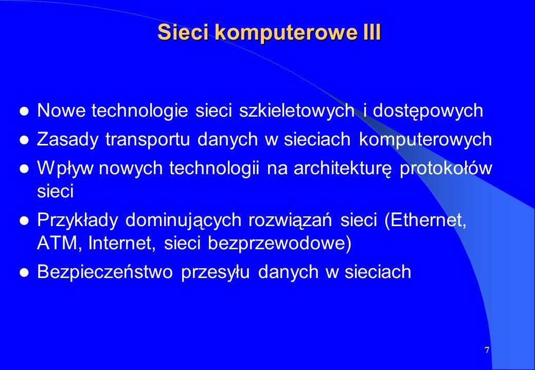 7 Sieci komputerowe III Nowe technologie sieci szkieletowych i dostępowych Zasady transportu danych w sieciach komputerowych Wpływ nowych technologii
