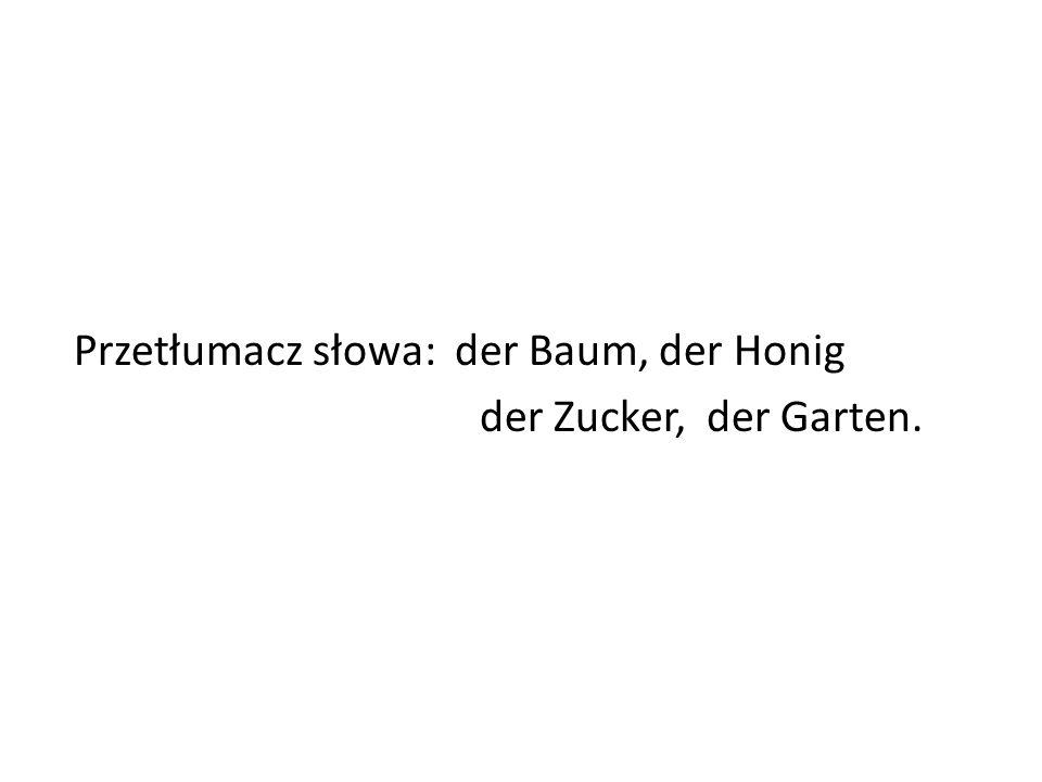 Przetłumacz słowa: der Baum, der Honig der Zucker, der Garten.